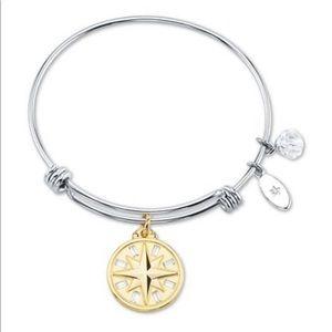 Clear Crystal Compass Rose Charm Bangle Bracelet